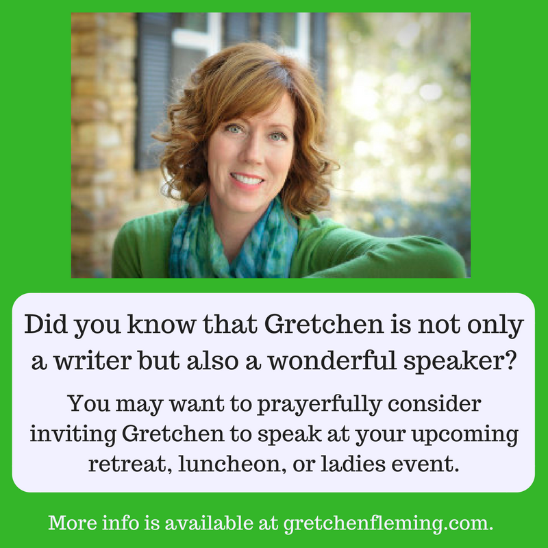 Why not invite Gretchen to speak to your group? Gretchen Fleming is a Bible study teacher and speaker at Four Oaks Community Church in Tallahassee, Florida. Active in women's ministry for over 20 years, Gretchen has ministered to women in the United States, China, Peru, and Guatemala. She and her husband Kyle have raised three children and live in Tallahassee, Florida. More info at www.gretchenfleming.com.